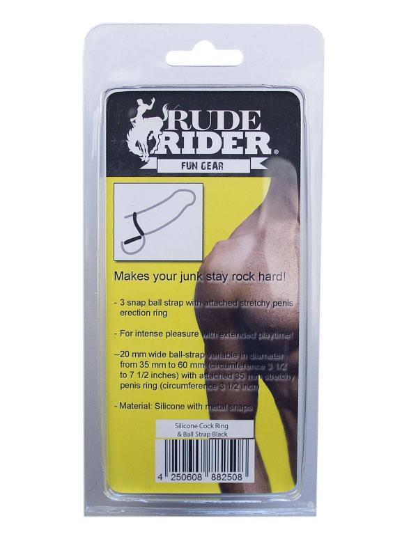 RudeRider Silicone Cock Ring & Ball Strap Black Gay Toys Bild